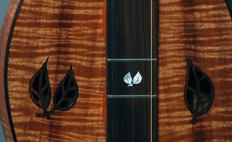 upclose image of bonnie-carol-dulcimer guitar - Colorado music hall of fame luthiers exhibit